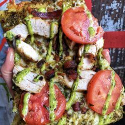Chicken Bacon Pesto Pizza