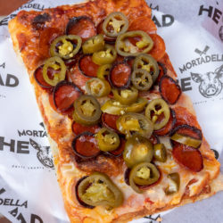 Mortadella Head pepperoni jalapeno roman pizza