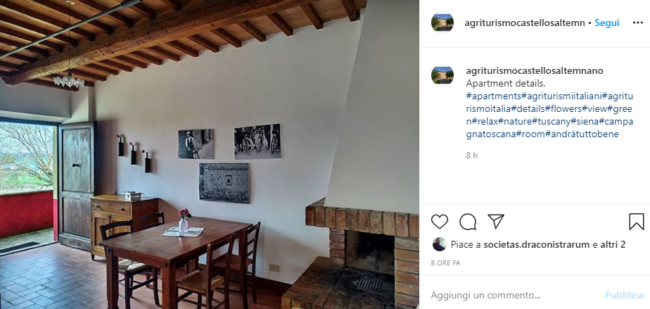 an instagram picture of a typical Italian agriturismo