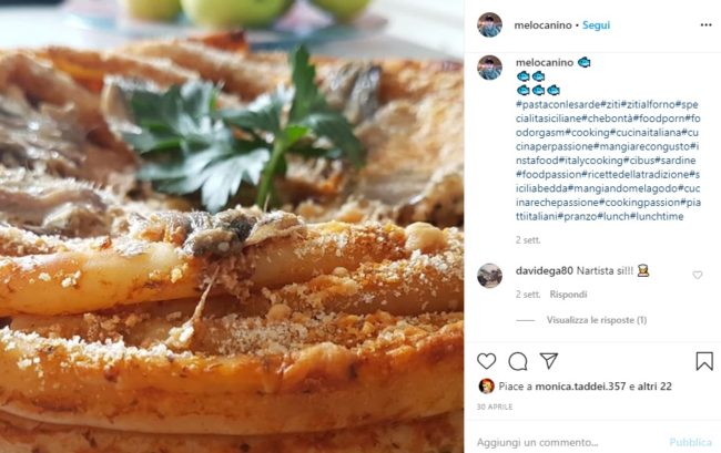 an instagram picture of baked ziti, a typical food from Syracuse