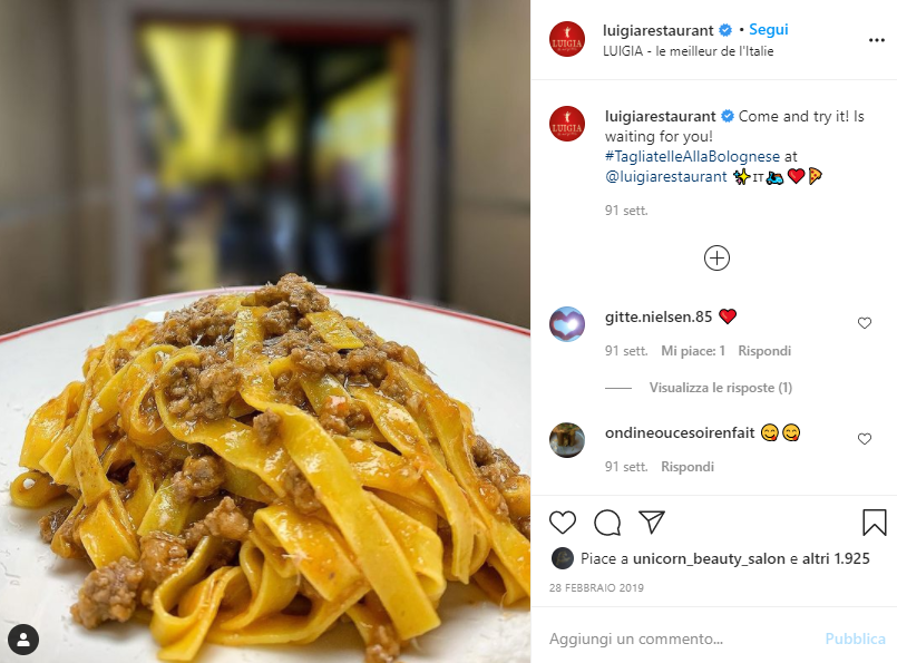 an instagram picture of tagliatelle alla bolognese, which are typically made with egg pasta