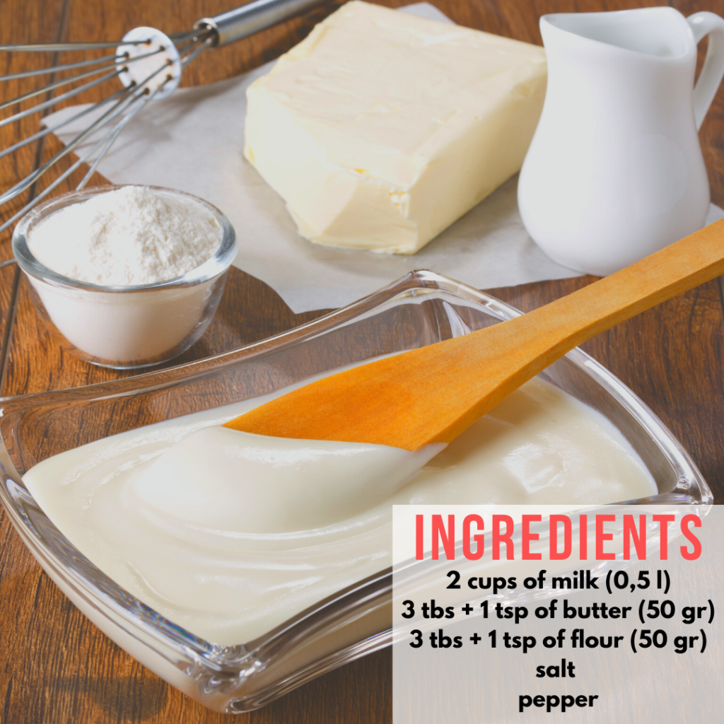 list of ingredients in the recipe for béchamel sauce